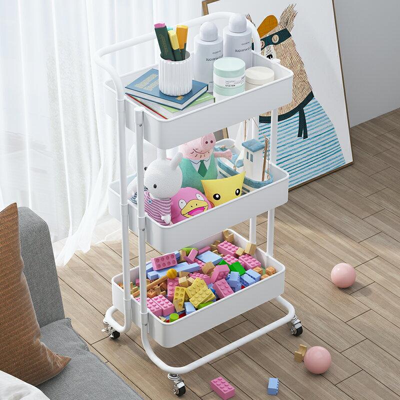 兒童玩具收納架玩具架可移動小推車零食儲物架寶寶用品整理置物架