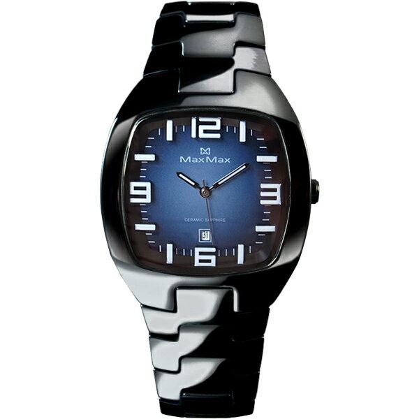 Max Max MAS5118-2新潮黑藍酒桶陶瓷腕錶/藍面35*36mm
