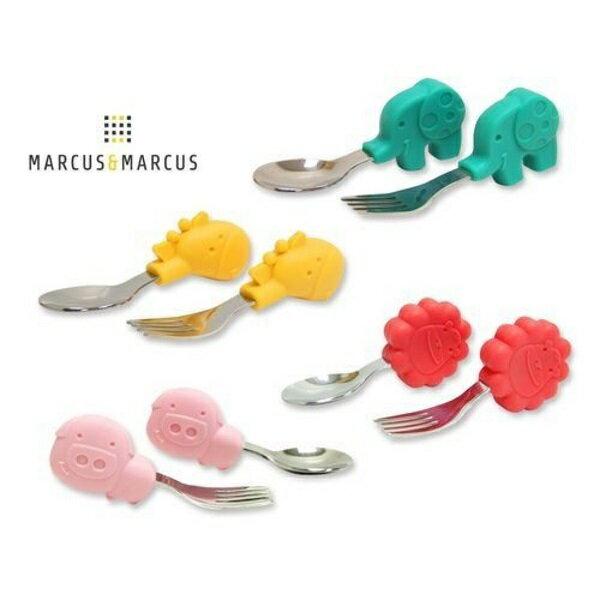 加拿大MARCUS&MARCUS動物樂園寶寶手握訓練叉匙(大象綠長頸鹿獅子紅粉紅豬)【寶貝樂園】