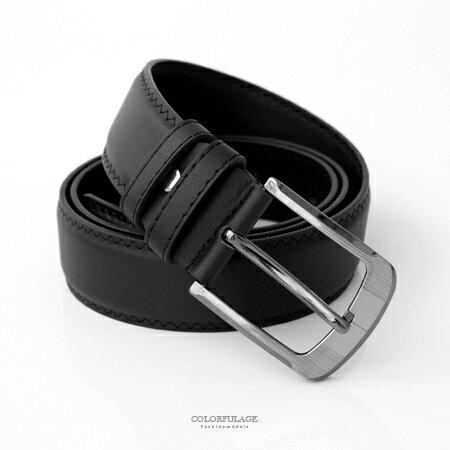 皮帶 黑色寬版車邊設計銀灰大扣環皮帶腰帶 簡單風格 型男百搭單品 柒彩年代【NK95】時尚潮流