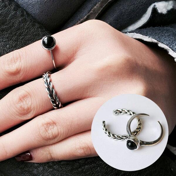 77美妝:黑色麻花寶石戒指2件組戒指MISH2304
