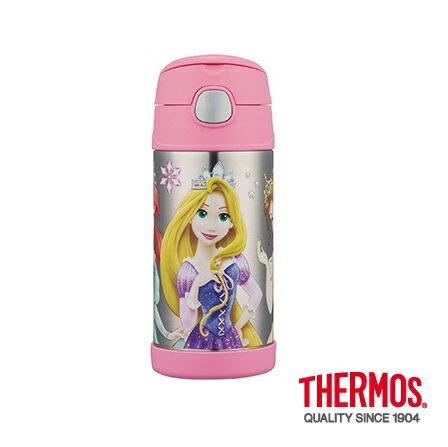 【安琪兒】【Thermos 膳魔師】不銹鋼真空吸管瓶360ml(附水壺袋)-迪士尼公主 0