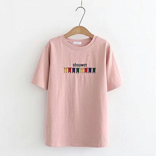 *ORead*刺繡小狗圖案休閒圓領棉質短袖T恤(3色F碼) 0