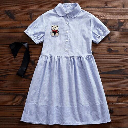 小熊貼布條紋洋裝 (藍色,M~2XL)【OREAD】 - 限時優惠好康折扣