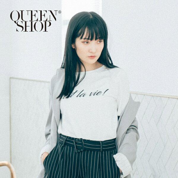 QueenShop【01037099】英文字母印花袖拼接蕾絲繡花T*預購*