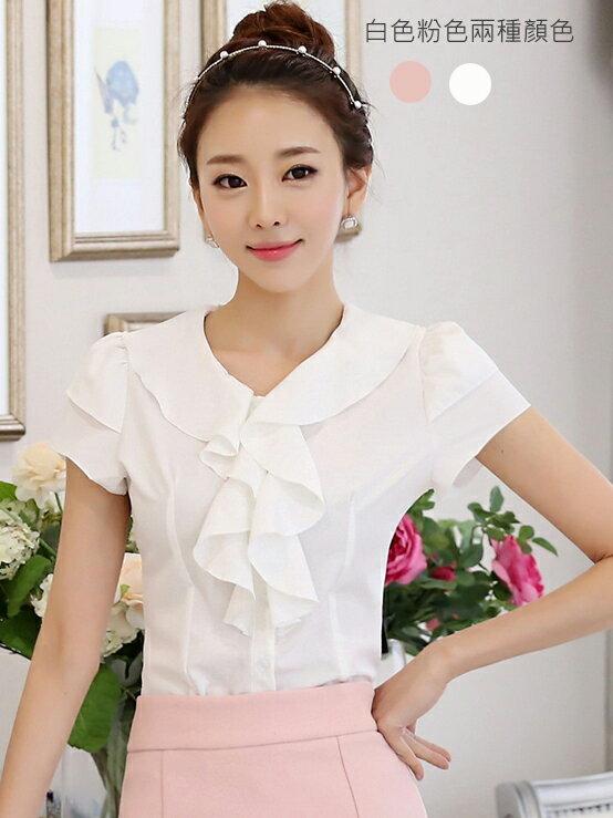 新款夏季短袖 韓版雪紡上衣 OL襯衫 OL套裝 wcps42