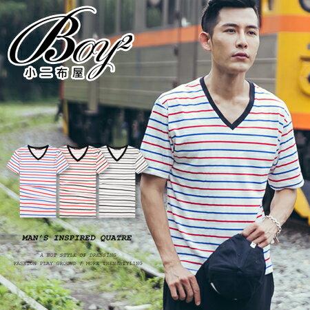 ☆BOY-2☆【PPK82072】簡約休閒條紋V領T恤 1
