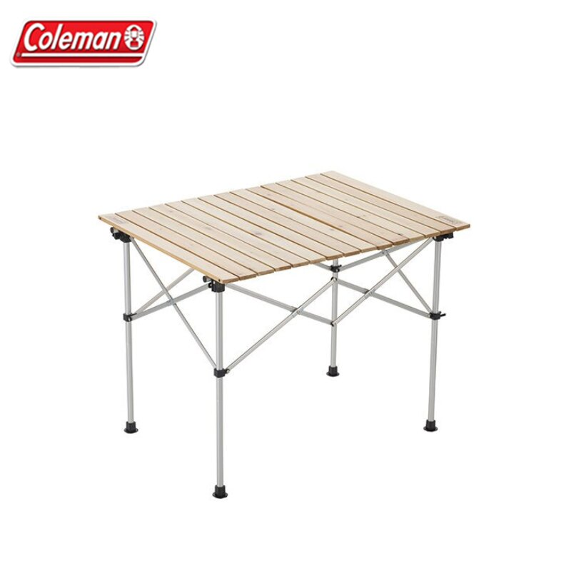 【露營趣】Coleman CM-31290 天然木蛋捲桌/90 木捲桌 二段高低 折疊桌 摺疊桌 野餐桌 露營桌 休閒桌