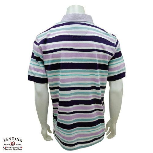 【FANTINO】男裝 65支雙絲光棉彩條POLO衫 431323 1