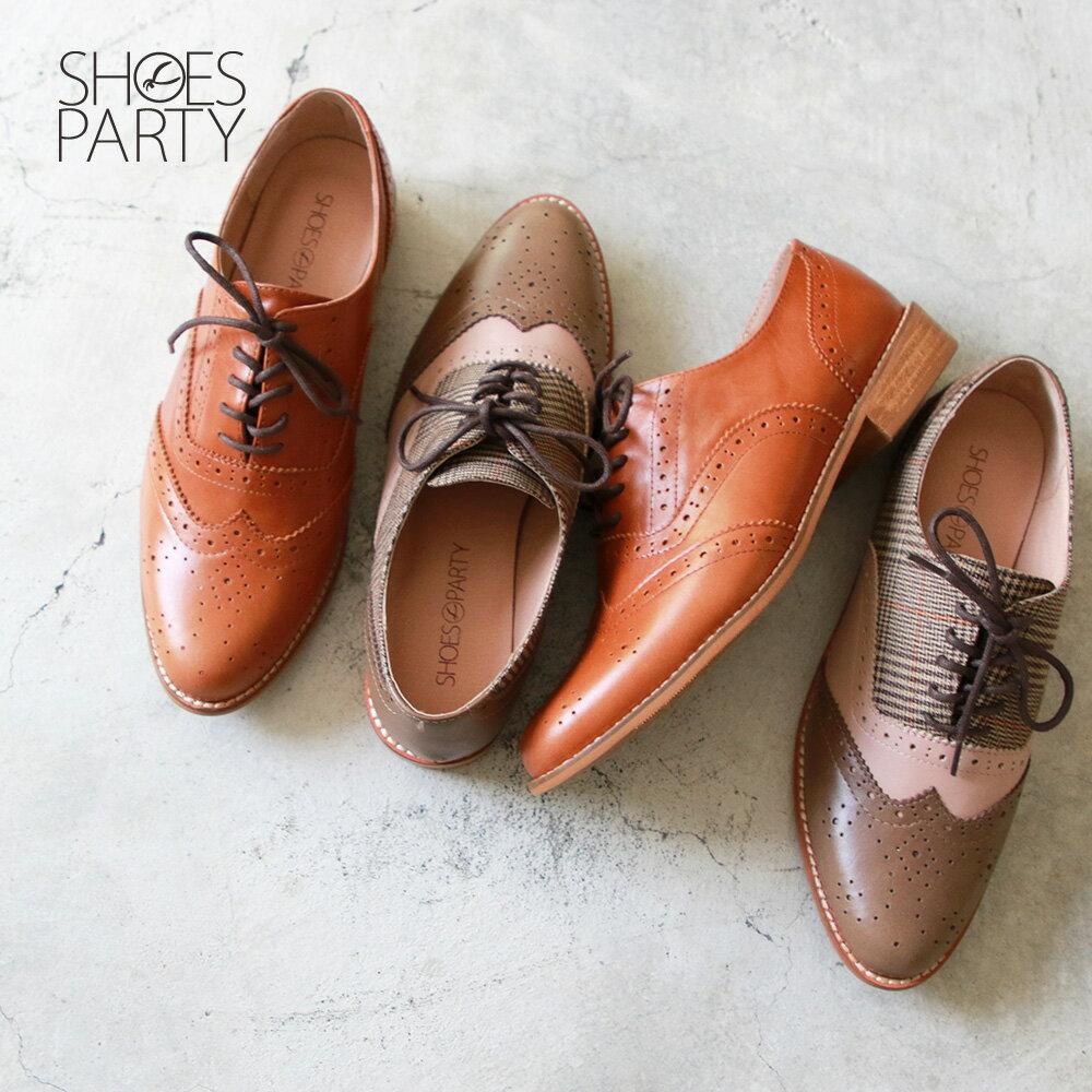 【C2-19525L】外尖內圓-英倫風綁帶真皮牛津鞋_Shoes Party 0