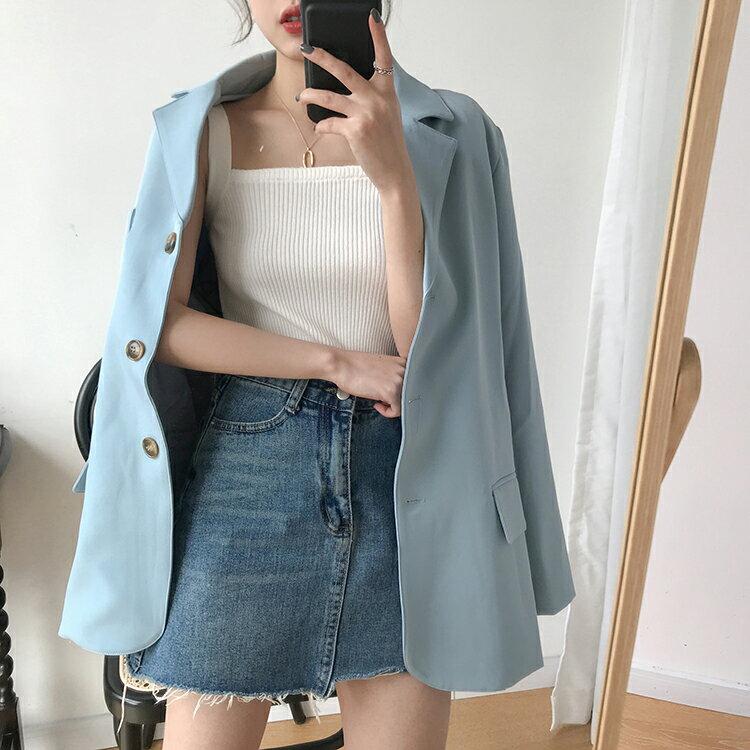 背心女夏裝新款韓版修身顯瘦基礎款純色彈力百搭套頭針織上衣1入