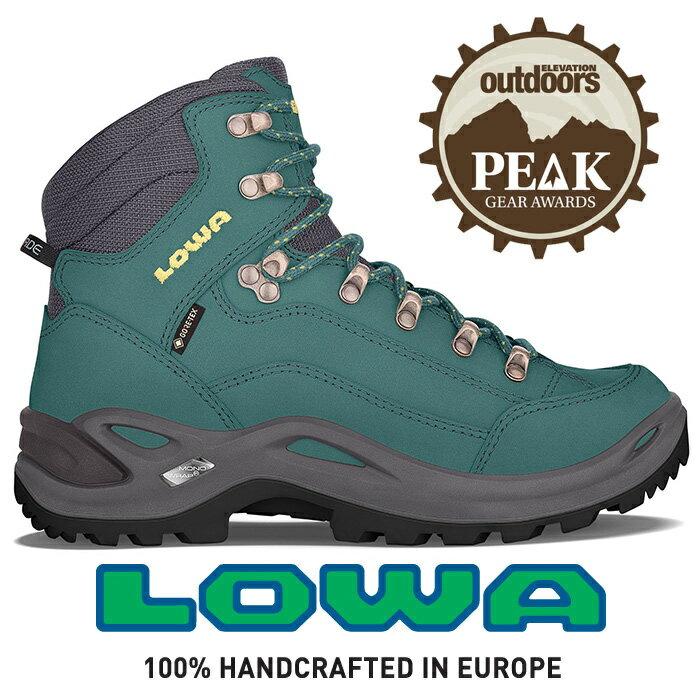 【LOWA 德國】Renegade GTX 標準版中筒防水登山鞋 女款 汽油藍/萊姆綠 (LW320945-7441)