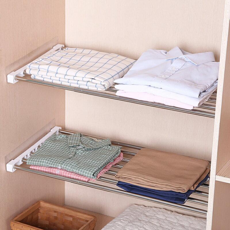 衣櫃分層隔板衣柜收納分層隔板櫥柜伸縮分隔層架宿舍柜子鞋柜置物架分層架免釘【MJ14785】