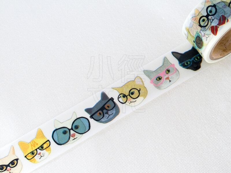 *小徑文化*日本進口 Aimez le style 和紙膠帶系列 - Glasses Cat ( Jan5519 )