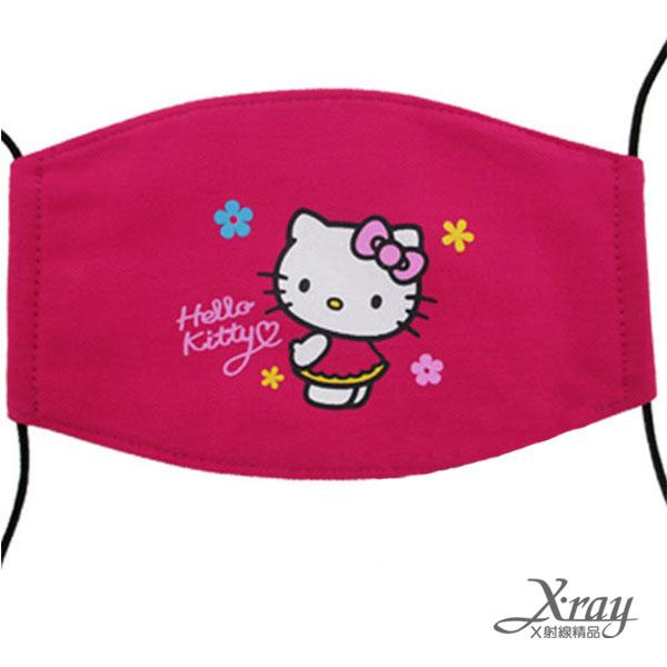 X射線【C101817】HelloKitty兒童平面棉布口罩(桃.小花),機車用口罩/衛生口罩/防塵口罩