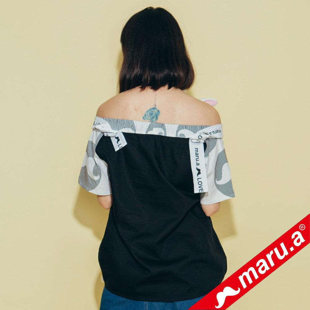 【maru.a】一字領超美織帶拼接上衣 8323117 1