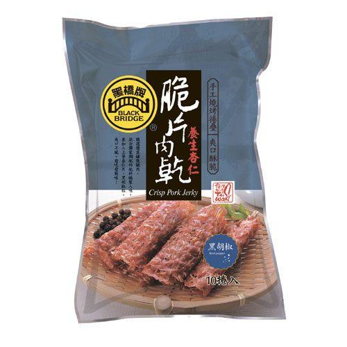 【野味食品】黑橋牌黑胡椒杏仁脆片肉乾70g / 包(10捲) 1