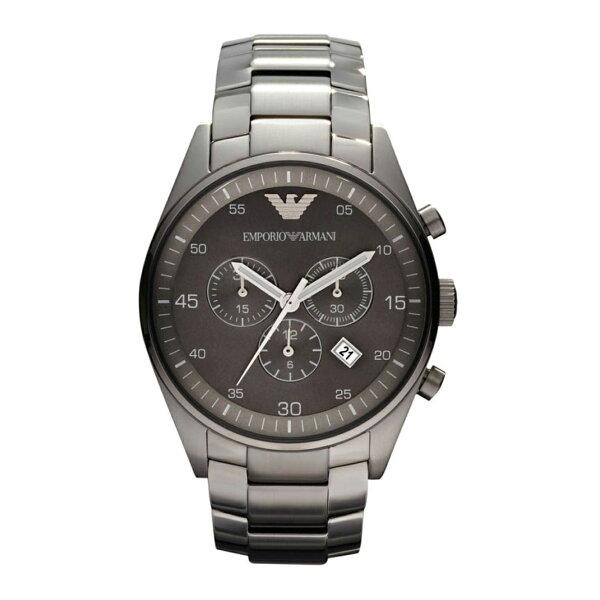 美國百分百【EmporioArmani】配件EA手錶腕錶男錶AR5964不鏽鋼三眼計時黑銀J041