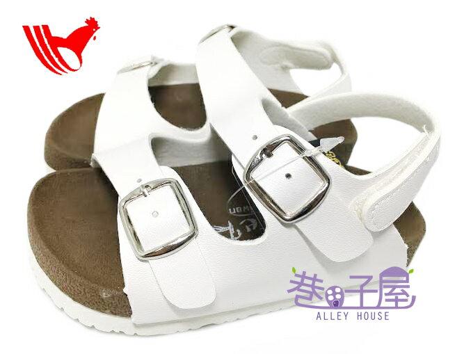 【巷子屋】ROOSTER公雞 童款經典勃肯雙釦涼鞋 [2351] 白 MIT台灣製造 超值價$198