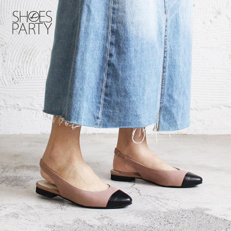 【P2-18329F】春天少女心,異素材拼接尖頭平底鞋_Shoes Party 1