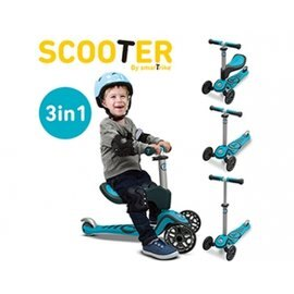 【淘氣寶寶●預購5月初發貨】【英國 smarTrike - scooter】都會 3 in 1 成長型三輪滑板車-藍【原廠公司貨】