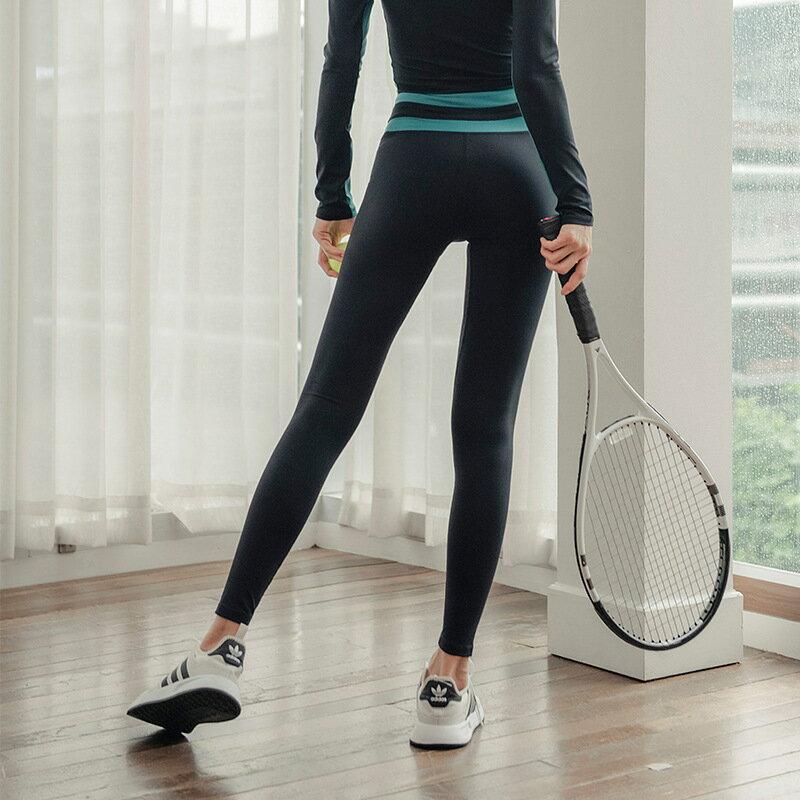 瑜伽褲女歐美高腰提臀褲跑步健身運動褲女收腹彈力緊身九分褲