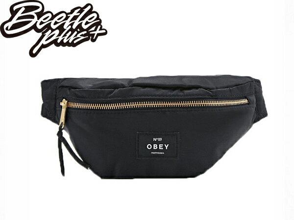 美國品牌 OBEY LAROCHE BUM BAG 全黑 黑白 金標 小包 腰包 斜背包 掛包 女用