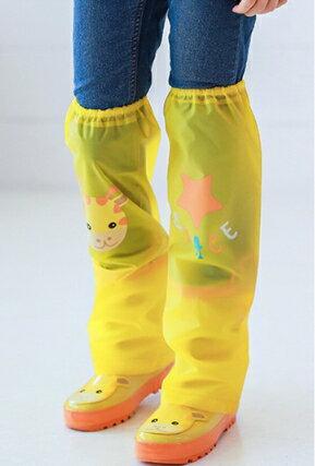 Kocotree◆ 雨天必備時尚可愛防水卡通腳套過膝雨鞋套兒童腿套-小鹿X黃色