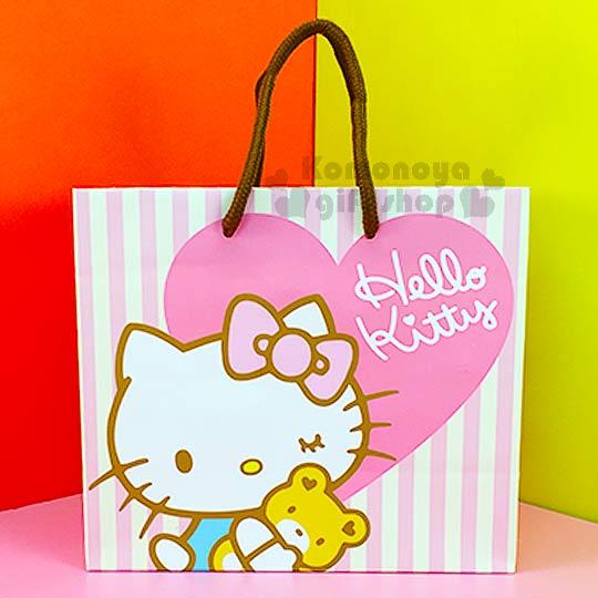 〔小禮堂〕Hello Kitty 寬底提袋《粉黃條紋.愛心.小熊》送禮包裝最方便