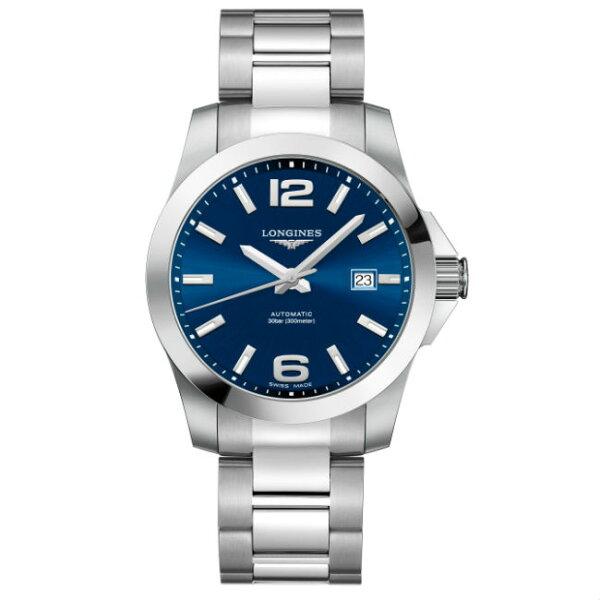 LONGINES浪琴錶L37774996征服者系列優雅經典腕錶藍面41mm