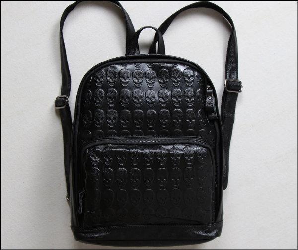 ☆T-HOMME☆JAPAN&KOREA 龐克骷髏頭壓紋時尚英倫真皮個性休閒後背包旅行包書包