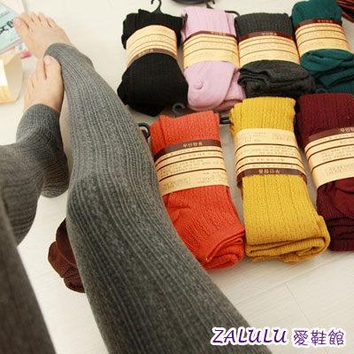 zalulu愛鞋館 W01 韓國無印良品外貿原單糖果色麻花棉連褲襪子~多色~全店滿399