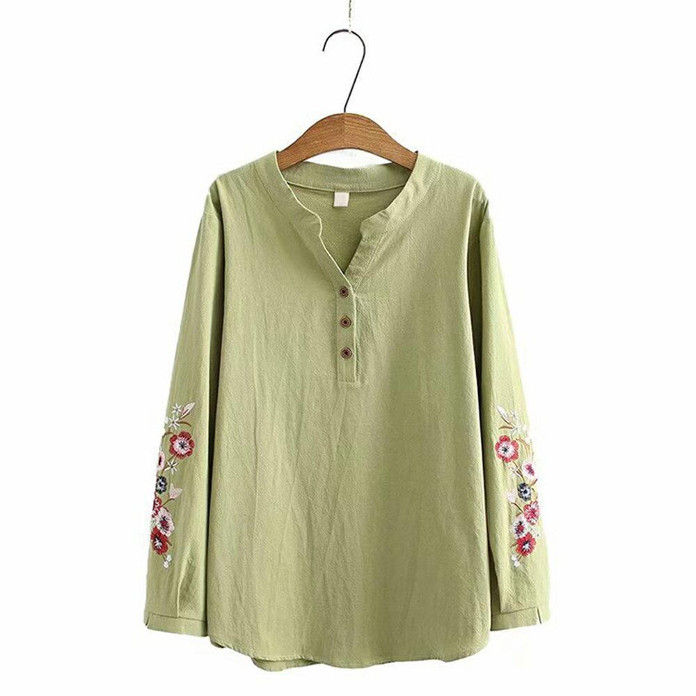 花朵刺繡棉麻V領長袖襯衫(4色XL~4XL)*ORead* 3