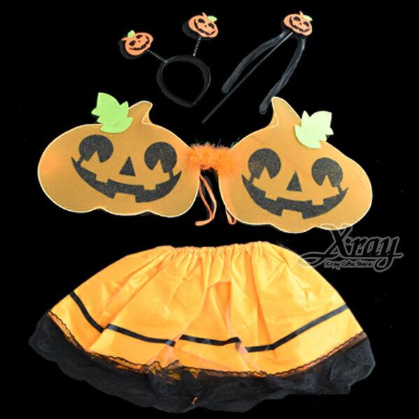 X射線【W066450】南瓜裝紗裙(4件套),萬聖節服裝派對用品尾牙表演角色扮演蝴蝶翅膀
