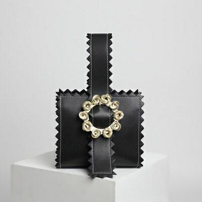 手提包真皮晚宴包-時尚金屬花朵鋸齒邊女包包4色73tn21【獨家進口】【米蘭精品】 2
