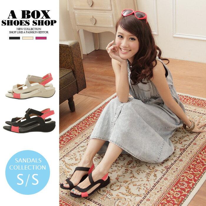 【KD787】*限時免運*韓系休閒 拼接布面防滑舒適鞋底 增高涼鞋 台灣製 2色