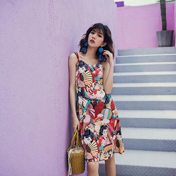 PSMall海邊度假連身裙復古印花裙洋裝【T385】