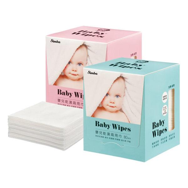 小獅王辛巴嬰兒乾濕兩用巾【80抽】 藍/粉  『121婦嬰用品館』