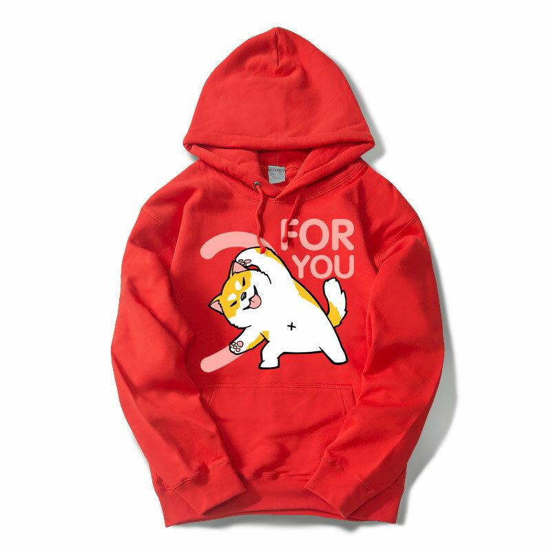 刷毛T恤 T恤 T-Shirt 情侶T恤 暖暖刷毛 MIT台灣製 【YS0872】FOR YOU 愛心版合體柴犬賓士貓 6