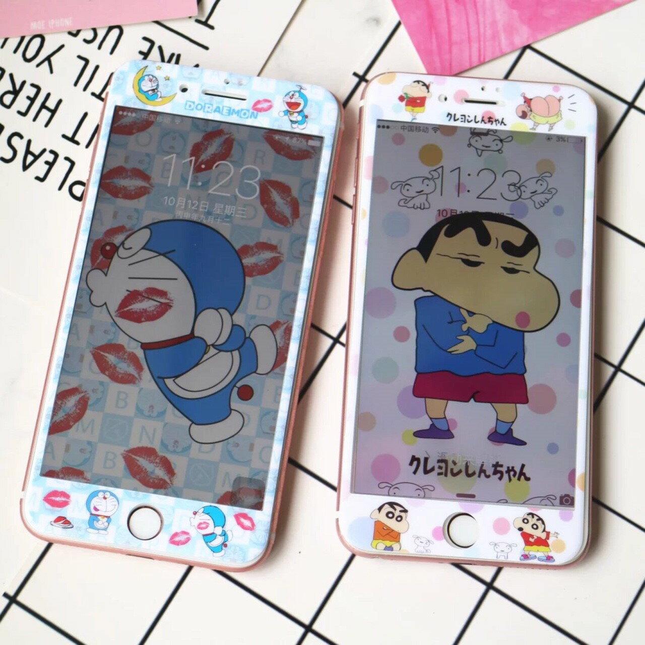 iPhone i6 I6s i6plus i7 i7plus 哆啦A夢 全屏保護貼 3D卡通 超薄9h鋼化膜 彩膜 手機螢幕貼【GP美貼】