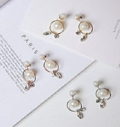PS Mall 配飾品 鏤空珍珠圓圈圈水滴鋯石吊墜長款耳釘耳環耳飾 ~G2057~ ~