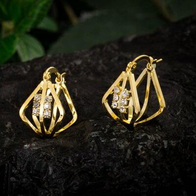 純銀耳環鍍18K金鑲鑽耳飾~奢華 精美七夕情人節 女飾品73cx57~ ~~米蘭 ~