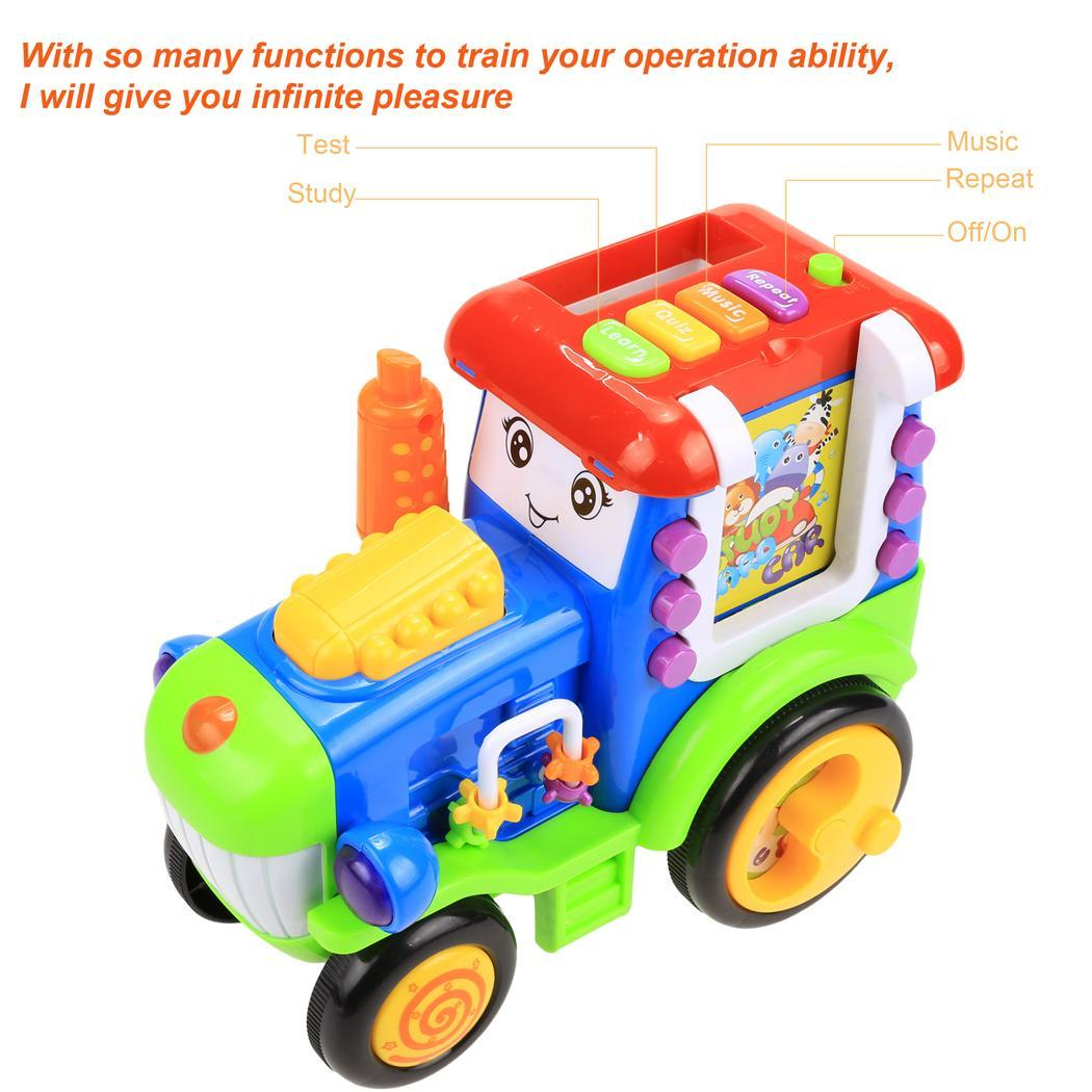 Baby Light Music Card Learning Educational Electric Train Rractor Pull Toy 3