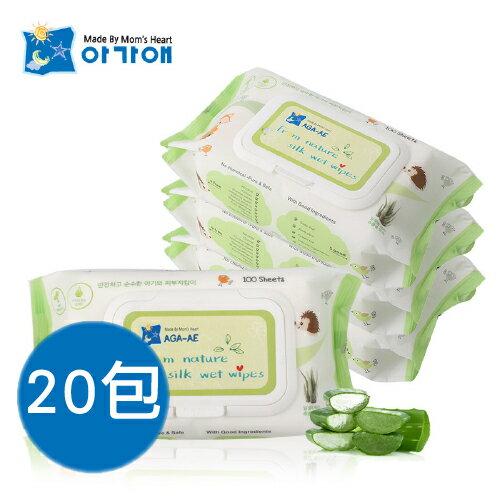 【韓國原裝】AGA天然水濕紙巾-箱購20包 (100抽/包)【母親節推薦】