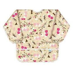 【美國Bumkins】防水兒童3-5歲 圍兜(長袖)-日式花朵 BKAS-464【紫貝殼】