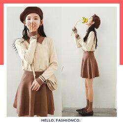 ✽ Fashion Co ✽  POLO領毛衣+純色半身裙兩件套組,均碼 ✽預+現✽