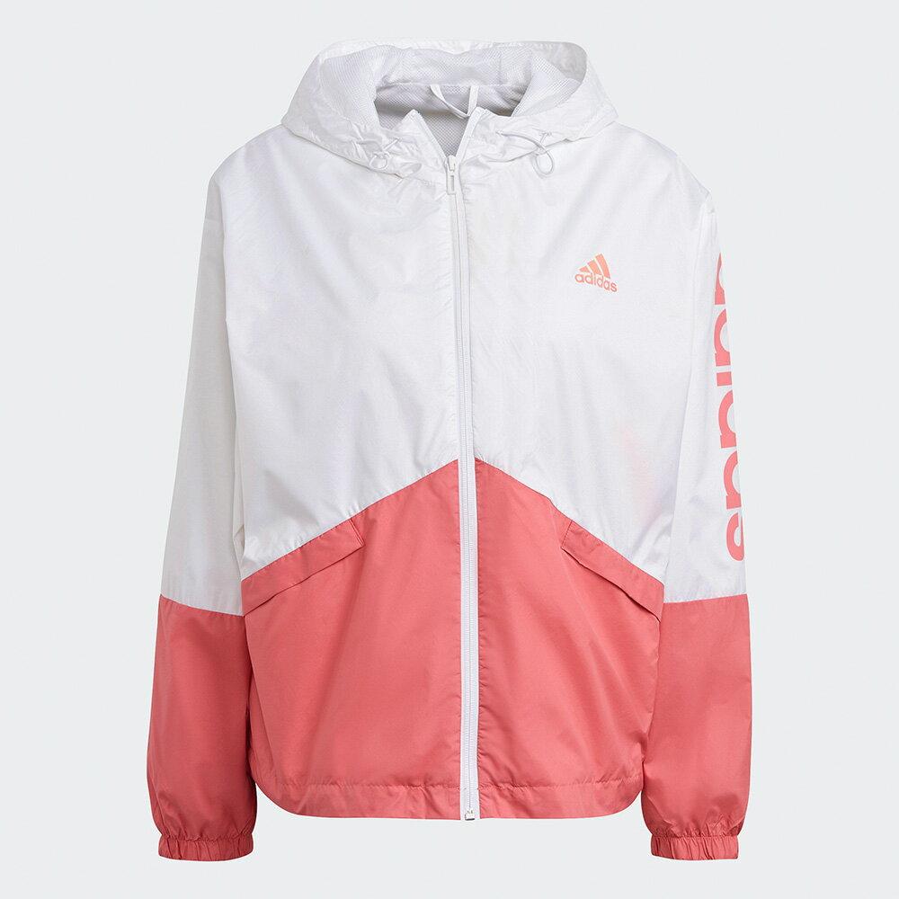 【滿額最高折318】Adidas Essentials 女裝 外套 連帽 風衣 圓弧後擺 口袋 網布 白 粉【運動世界】GM5623