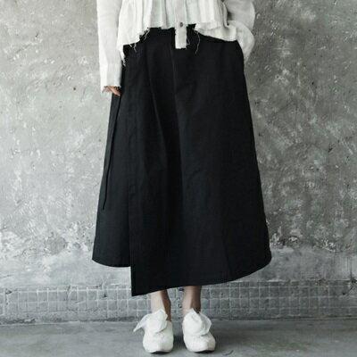 寬管褲裙-水洗做舊不規則綁帶女褲子73sp12【獨家進口】【米蘭精品】