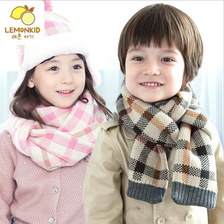 WallFree窩自在★秋冬經典百搭格紋舒適保暖兒童針織毛絨圍巾