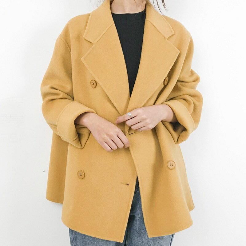 毛呢大衣羊毛外套-短版純色翻領雙排扣女外套4色73wb19【獨家進口】【米蘭精品】 1